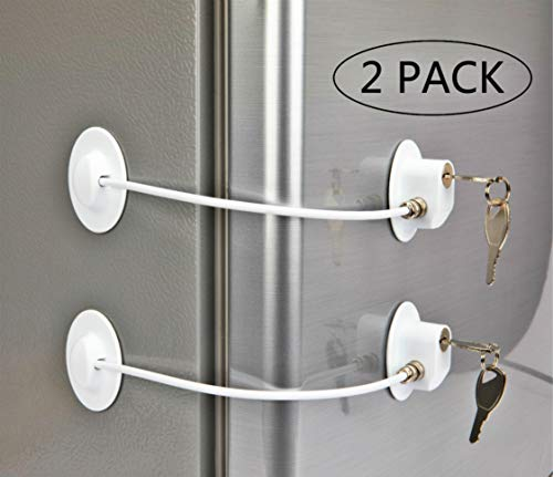 2 Pack Refrigerator Lock with 4 Keys, Refrigerator Lock Dorm Freezer Door Lock and Child Safety Cabinet Lock with Strong Adhesivefrigerador