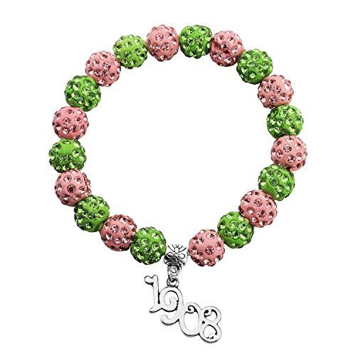 BAUNA Sorority Bracelet I Love All Things Pink and Green Paraphernalia Gift (1908 Bead Bracelet)