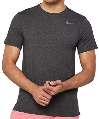 Nike Breathe Men's Short Sleeve Dri-Fit Training Workout Shirt (X-Large) Heather Black