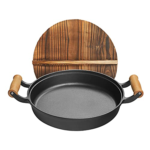 YZDKJDZ Iron Grill Pan, Round Fry Pan, Barbecue Nonstick Griddle, Pre-Seasoned Skillet, Firepit, Stovetop, Indoor Outdoor - Great for Grilling, Frying, Sautéing