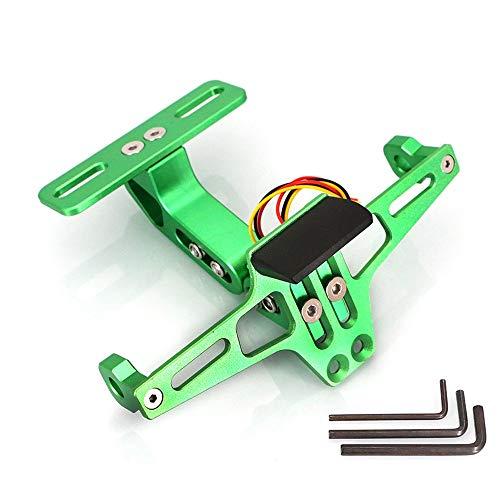 Soporte de placa corta de matrícula verde universal de aluminio para moto, scooter, quad, moto o ciclo, ajustable con iluminación LED