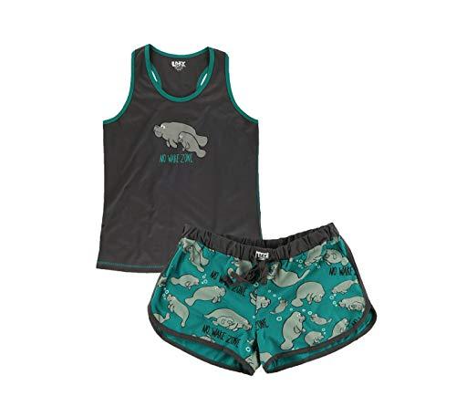 Lazy One Matching Pajamas for Women, Cute Pajama Shorts and Tank Top Set, Animal, Sea, Ocean (Manatee, X-Large)