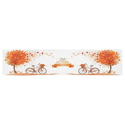Orange and White Bicycle and Leaves Fall Table Runner