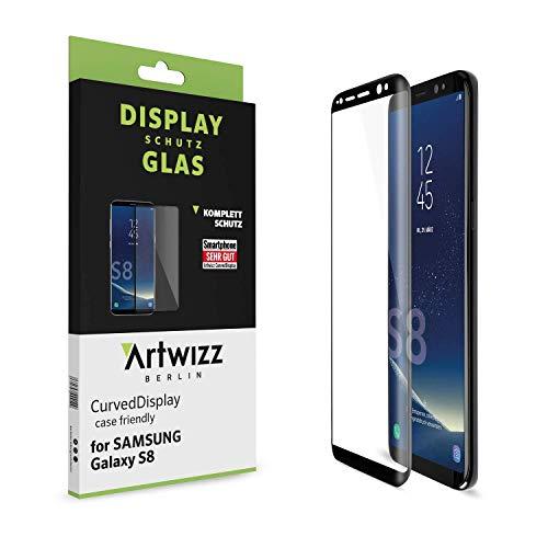 Artwizz CurvedBildschirm Schutzglas Designed für [Galaxy S8] - Bildschirmschutz aus Panzerglas mit 100prozent Bildschirm-Abdeckung, 9H Festigkeit - Hülle Friendly - Schwarz