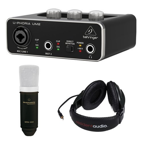 Behringer U-PHORIA UM2 2x2 USB Audio Interface with Large-Diaphragm Condenser Microphone and Stereo Headphones (Black)