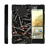 TurtleArmor | Compatible with ZTE Warp Elite Case | N9518 [Dynamic Shell] Dual Layer Hybrid Built-in Kickstand Absorber Silicone Cover War and Military - Black Bullets