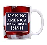 40th Birthday Gifts For All Making American Great Since 1980 Birthday Gift Coffee Mug Tea Cup USA Flag