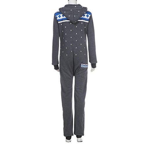 Elecenty Damen 3D Drucken Jumpsuit Schlafanzug Frauen Langarm Weihnachten Elch Winter warm lang mit Kapuze Overall (Dunkelgrau) - 6
