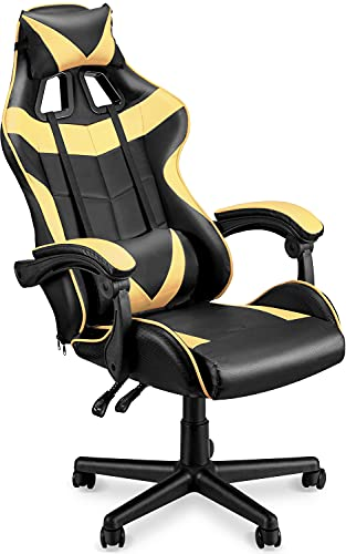 Soontrans Gold Gaming Chair Ergonomic Office Chair Racing Chair for Gaming Computer Chair,E-Sports Chair with High-Back,Adjustable Headrest and Lumbar Support (Matte Golden)
