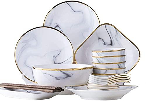 Juego de Platos, Conjunto de vajillas de cerámica Elegante, Platos de mármol de imitación con Phnom Penh, Platos, tazones, cucharas, sostener Todo Tipo de Alimentos, Horno de microondas, Caja Fuerte,