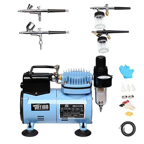 TUFFIOM Airbrush Compressor Kit w/ 4 Airbrushes, Airbrush Holder & 6ft Air Hose, Airbrushing Painting System w/Regulator & Cooling Fan for Model Painting/Cake Decoration/Nail Art/Tattoo