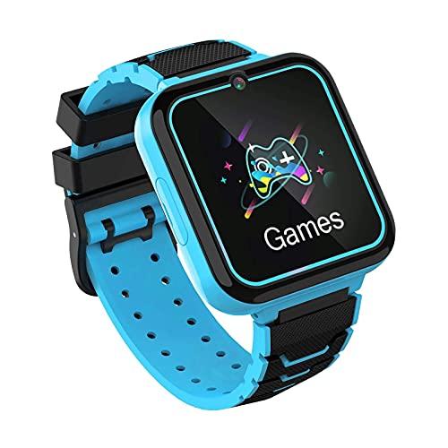 Smartwatch Kinder,Smart Watch Telefon für Kinder Mädchen und Jungen mit SOS Kamera Spiel Musik Player, Uhr Telefon Smartwatches für Alter 3-12 [1 GB Micro SD Enthalten](BLAU)