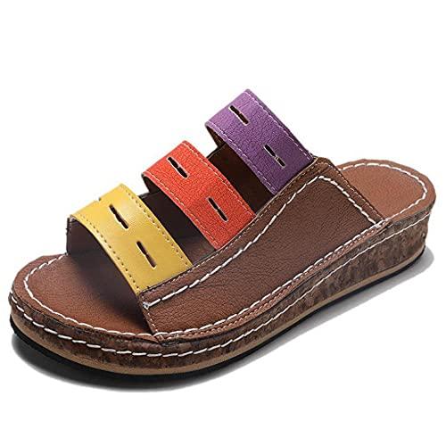 ypyrhh Chanclas para Adulto Mujeres,Zapatillas de Sandalia de Color Fondo Grueso,Pendiente de Ocio con Sandalias-marrón_36,Chanclas Mujer