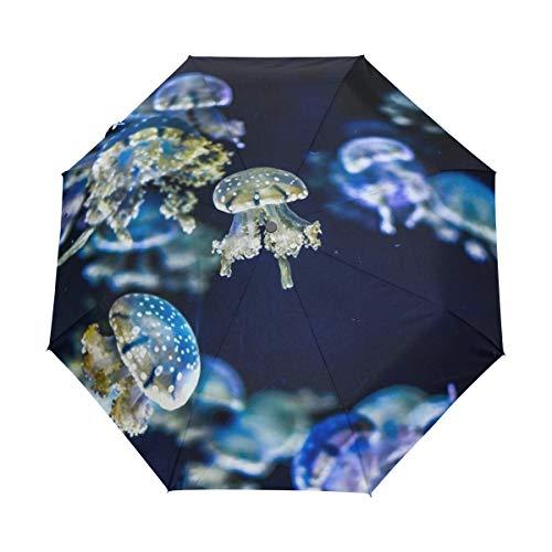 Faltbarer Reise-Regenschirm, Qualle, Wasserkunst, Sonnenschutz, winddicht, regendicht, tragbar, automatischer Sonnenschirm