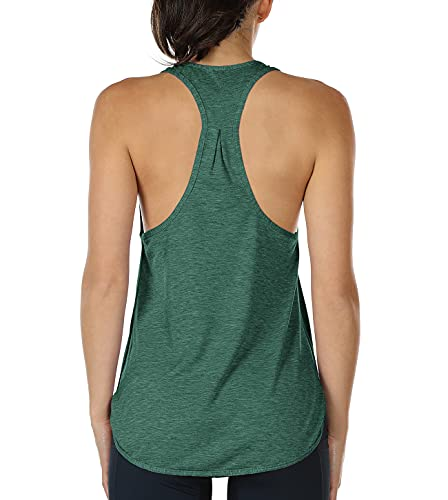 icyzone Workout Tank Tops for Women - Athletic Yoga Tops, Racerback Running Tank Top (M, Army)
