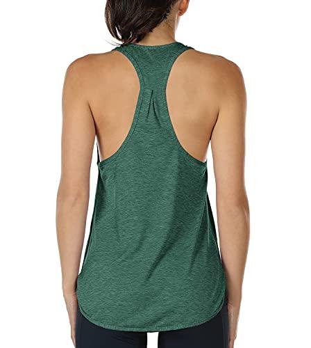 icyzone Camiseta sin Mangas Racerback Deportivo de Suelta Fitness para Mujer -M-