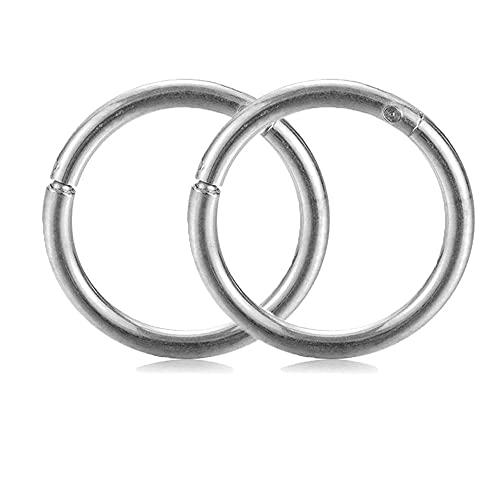 Lot de 2 piercings à charnière en acier titane pour septum, nez, lèvre, oreille, hélix, tragus (1,2 x 8 mm, argenté)
