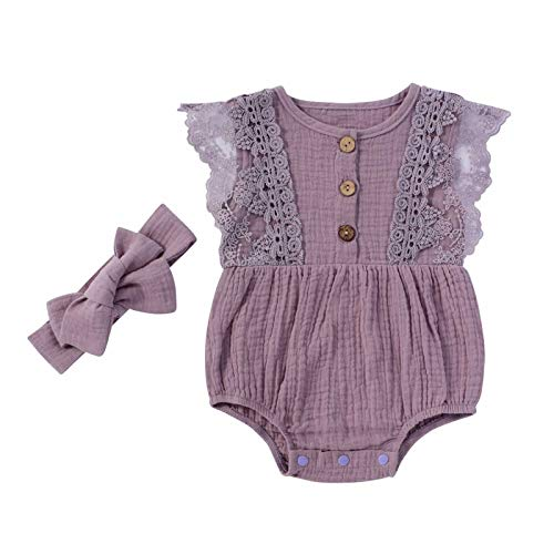 Infant Baby Girl Cotton Linen Romper Onesies Headband Set Solid Sleeveless Lace Bodysuit Summer One Piece Clothes (Purple Lace, 9-12 Months)