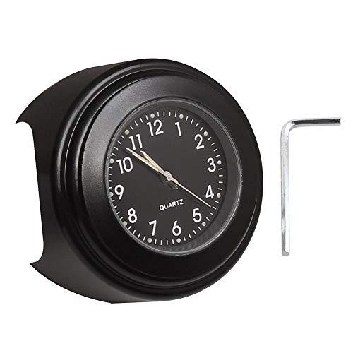 Reloj de Manillar de la Motocicleta, Everpertuk Reloj Universal para Motocicleta, Reloj de Cuarzo Luminoso de 22-25mm de Diámetro Resistente al Agua Reloj