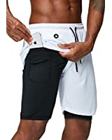 Pinkbomb Men's 2 in 1 Running Shorts Gym Workout Quick Dry Mens Shorts with Phone Pocket (White, XX-Large)