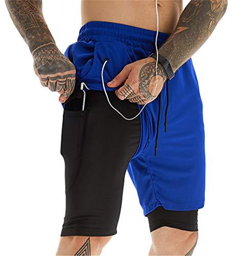 ASKSA Herren Sport Shorts 2 in 1 Running oder Gym Schnell Trocknend Atmungsaktiv Training Shorts Jogger Hose mit Eingebauter Tasche (XXL,Blau)