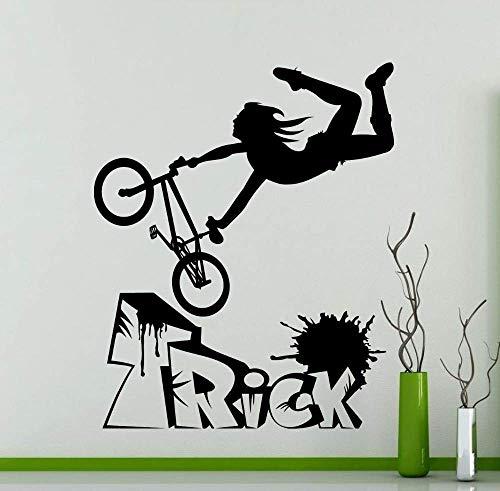 Fiets BMX Freestyle Trick Muursticker Bike Garage Vinyl Decal Woonkamer Decoratie Sport Muursticker zelfkleven42x50cm