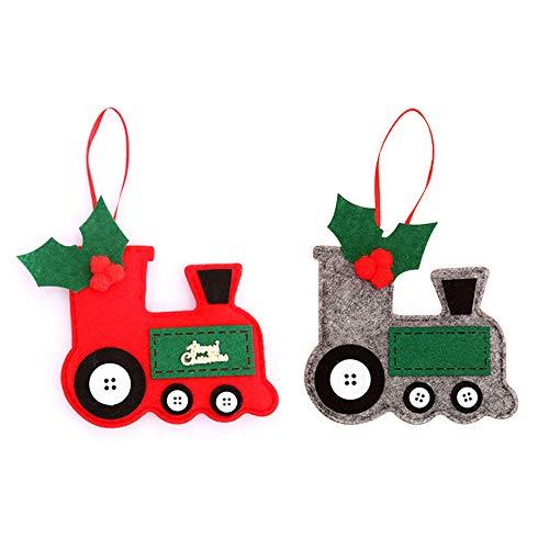 JIESD-Z 2 pezzi decorativi da appendere albero di Natale creativo carino feltro trattore decorazione pendente ornamenti per feste di festa