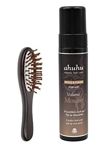 ahuhu Style & Finish Pop Up! Volume Mousse 200ml + kleine Haarbürste aus Bambusholz