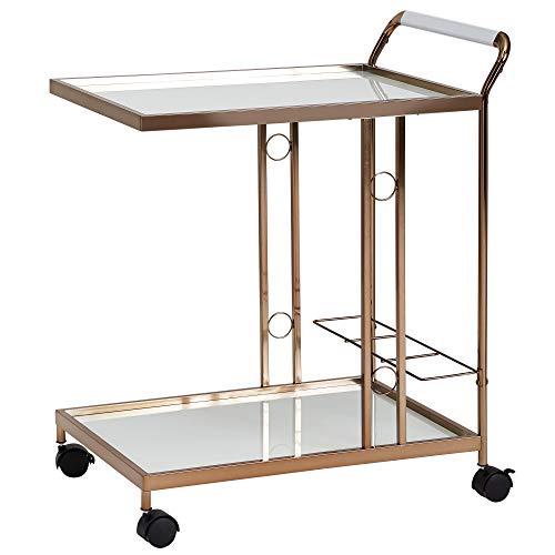 Wohnling Chariot de service design doré 67 x 80 x 45 cm | Table d appoint mobile | Desserte avec plateau en verre | Chariot de cuisine en verre dépoli | Chariot à thé | Mini bar sur roulettes