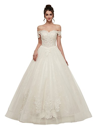 Vintage Puffy Wedding Dresses for Women Off The Shoulder Quinceanera Dress Manual Lace Appliqued Empire Waist Formal Ball Gowns Brides Dress YZ333 White Size 10