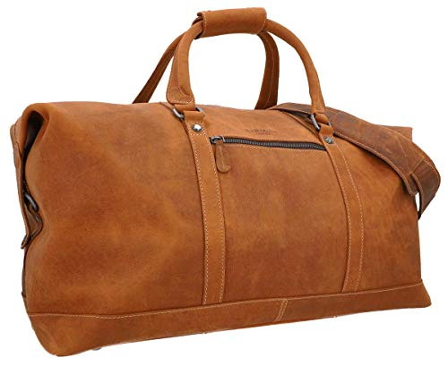 Travel Bag Leather Women Men Large - Gusti Ruben 36L Hand Luggage Weekender Light Brown