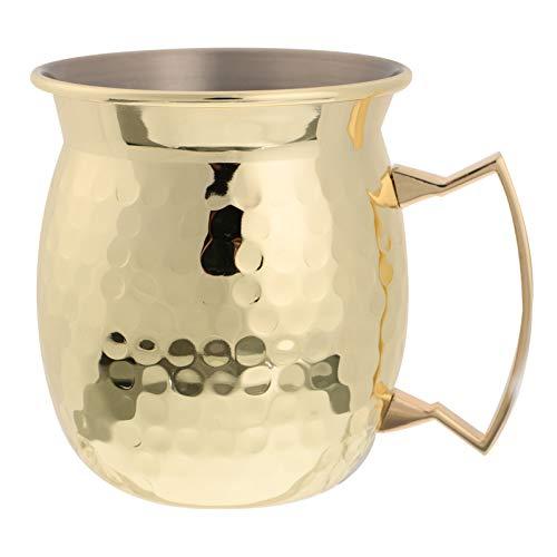 YARNOW Getränke Tassen Moscow Mule Becher Moscow Mule Kupfer Becher Edelstahl Kaffee Becher Wasser Tasse Tee Tasse für Wein Bier Cocktails Iced Saft Milch 500Ml Goldene