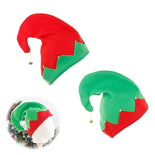 Gorro de Pap Noel Gorro de Navidad para Adultos, Sombrero Navideo Suave de Santa, Gorro de Elfo, con Campanillas, Gorras de Partido de Traje de Navidad para Festivos de Navidad 2 Piezas Verde y Rojo