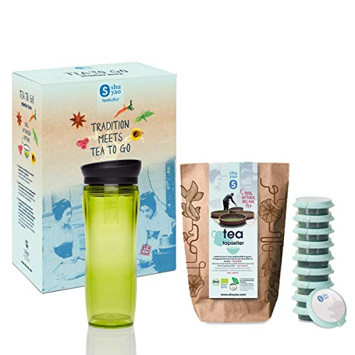 Shuyao Starter Box Tea To Go Thermobeker groen (360ml) met geïntegreerde theezeef + 10x1 losse Bio Thee 30g