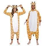 Silver Lilly Giraffe One Piece Animal Costume - Unisex Adult Plush Cosplay Pajamas (Giraffe, XL)