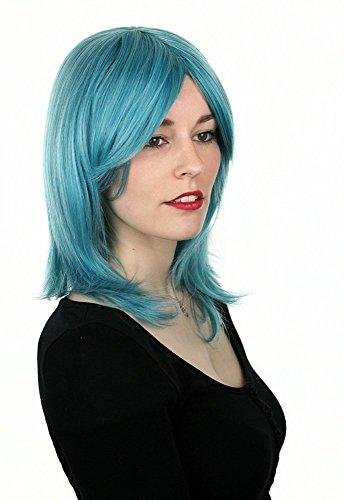 Prettyland Perruque Turquoise Bleu Mi-Longue Moyen 45 cm Frange Dégradé Vampire Extraterrestre Manga Cosplay C583