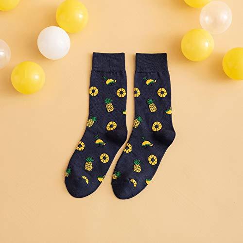 NANAYOUPIN Herbst und Winter Neue Gezeiten Socken, Bunte Wassermelone Obst Socken, Paare lässig Baumwolle Rohr Strümpfe Ananas