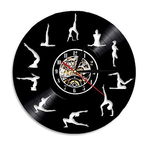 Reloj De Pared Vintage Accesorios De Decoración del Hogar Diseño Moderno Reloj De Vinilo Colgante Reloj De Pared Reloj Único 12' Idea de Regalo。 Yoga Fitness