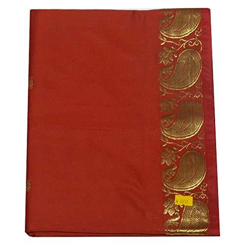 indischerbasar.de indischerbasar.de Sari rotbraun Goldbrokat traditionelle Bekleidung Indien Tracht inkl. Wickelanleitung Bindikärtchen