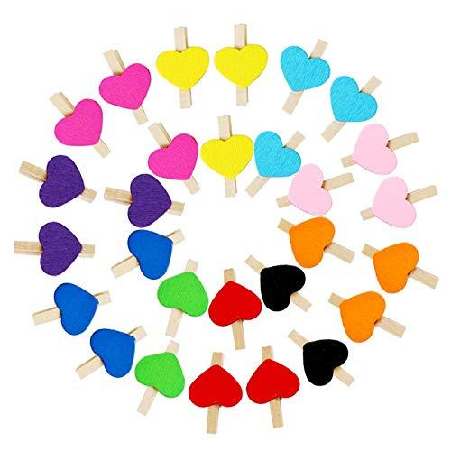 fafafa Pinzas para ropa con forma de corazón, pinzas de madera, pinzas para ropa, accesorios para decoración de fiestas de oficina, accesorios para colgar fotos, 30 x 4 mm (color: mezcla 1ranadom)