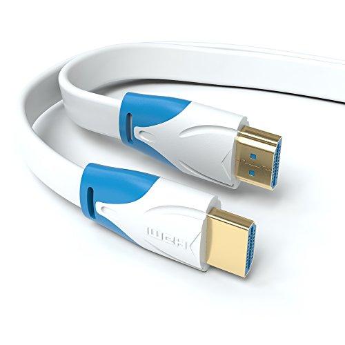 JAMEGA 5m HDMI 2.0 Kabel Flach Weiß | kompatibel mit HDMI 2.0a/b, 2.0, 1.4a | Unterstützt Ultra HD, 4K, 3D, Full HD, 1080p, HDR, ARC, Highspeed mit Ethernet