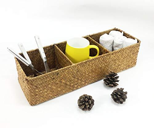 LA handgeflochtener Aufbewahrungskorb aus Seegras, rechteckiger Korb und Organizer für Zuhause, natürliche Wasserhyazinthe (braune Mitte) - 5