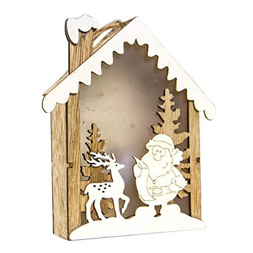 ZXXFR Weihnachten Deko Anhänger,Party Zubehör Led Leuchten Weihnachtsverzierungen Kleines Holzhaus Anhänger Home Leuchtenden Weihnachtsschmuck Festival