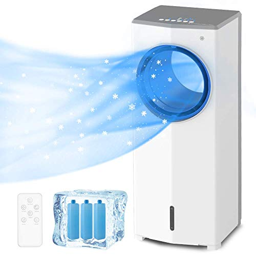 Lifeplus Portable Evaporative Air Cooler, Bladeless Fan and Humidifier 3-in-1, 3 Cooling Modes, 3 Wind Speeds, 45 Degree Oscillation, Quiet, Remote Control 7H Timer for Indoor Use