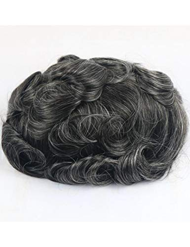 JKDKK perruques Thin Skin Toupee Men Real Human Hair Pieces Natural Hairline Virgin Hair Replacement System , 7X9,1B40# Wave