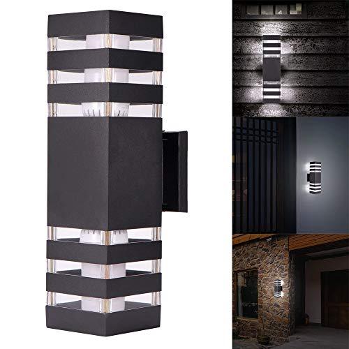Porcyco Moderne buitenwandlamp, wandmontage accessoires van aluminium, waterdicht, met dubbele kopverlichting, E27 boven onder