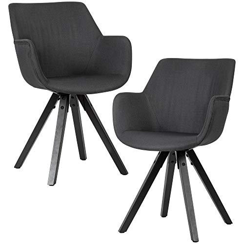 Juego de 2 sillas de comedor de color negro con reposabrazos y patas negras, de tela, modernas con patas negras, acolchadas