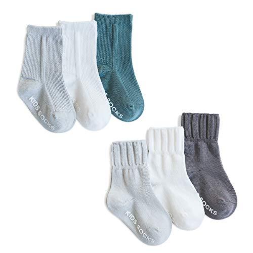 SONARIN 6 Pares Calcetines Antideslizantes para Niñas Niños,Color Liso,Calcetines de Algodón Antideslizante para niñas bebés,1-3 años