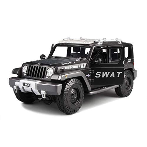 hclshops Modelo del Coche 1: 18 Jeep Wrangler Simulación de aleación de fundición Juguete Adornos SUV Colección 24x10.5x10.5CM joyería