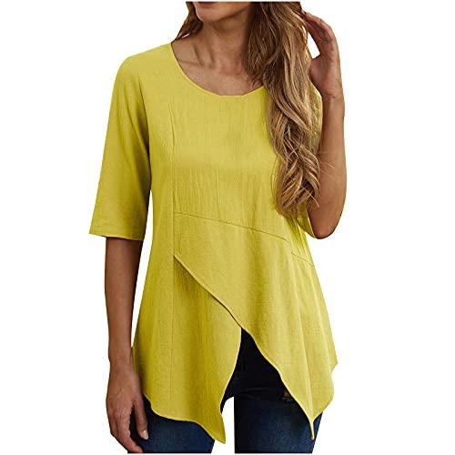 WANGTIANXUE Maglia a maniche corte da donna, estiva, asimmetrica, elegante camicia da blusa, camicetta da donna, oversize, estiva e casual giallo. S